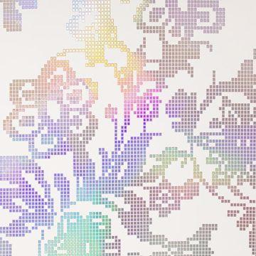 Sadira Beige Pixelated Modern Floral