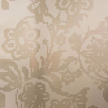 Sadira Brass Pixelated Modern Floral