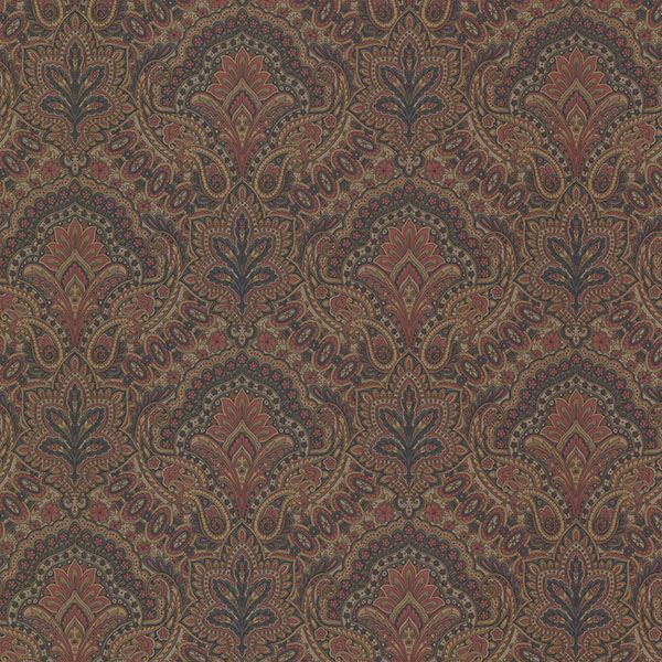 Picture of Cypress Ink Paisley Damask Wallpaper