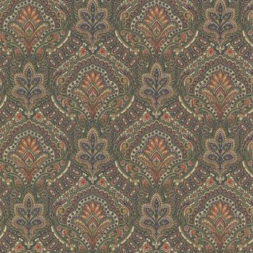 Picture of Cypress Sage Paisley Damask Wallpaper