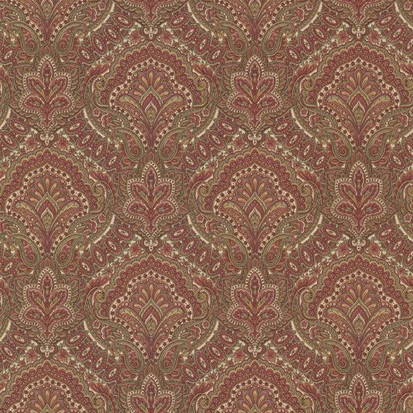 Picture of Cypress Burgundy Paisley Damask Wallpaper