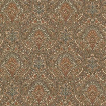 Picture of Cypress Chestnut Paisley Damask Wallpaper
