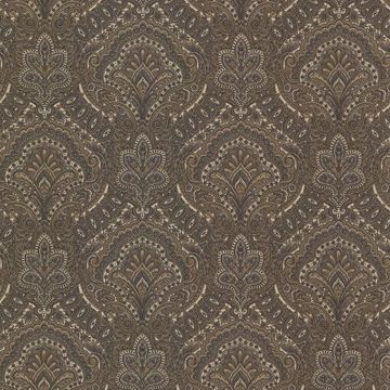 Picture of Cypress Charcoal Paisley Damask Wallpaper