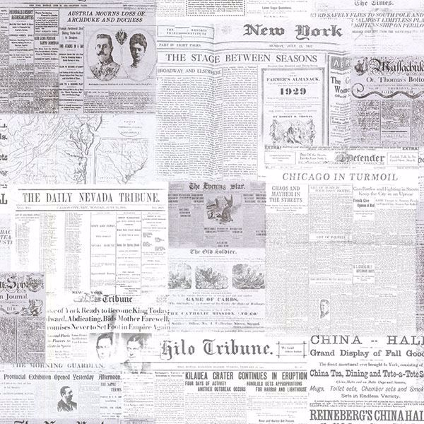 Picture of Gazette Grey Vintage Newsprint
