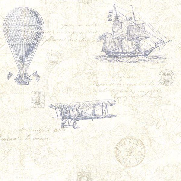 Picture of Explorer Blue Antique Map