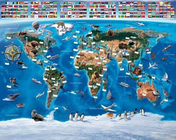 Map Of The World Mural