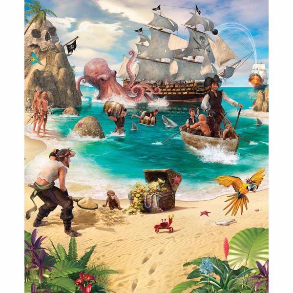 Pirate And Treasure Adventure Mural