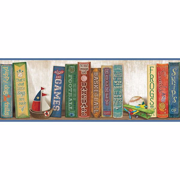 Picture of Stevie Blue Play the Game Bookshelf Border