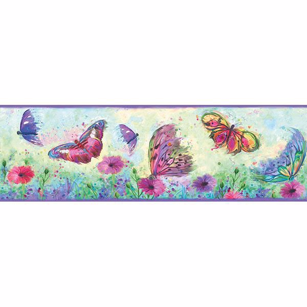 Picture of Ava Purple Butterfly Swoosh Border