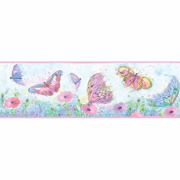 Picture of Ava Pink Butterfly Swoosh Border