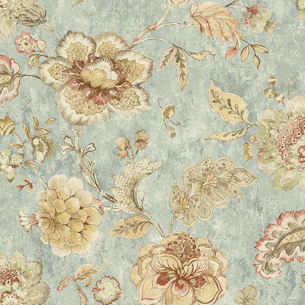 Rw40002 Blue Jacobean Floral Olivia Rustico Wallpaper