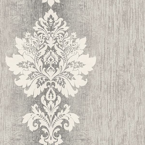 Mazzy Pewter Damask Stripe