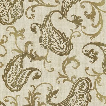Picture of Darro Gold Global Paisley Wallpaper
