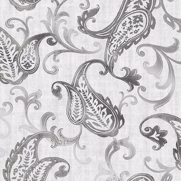 Picture of Darro Silver Global Paisley Wallpaper