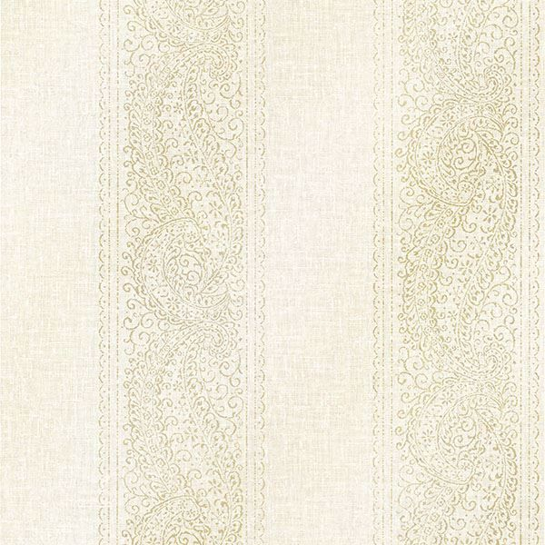 Picture of Arcades Light Grey Paisley Stripe Wallpaper