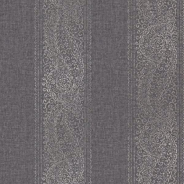 Picture of Arcades Black Paisley Stripe Wallpaper