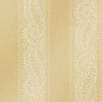 Picture of Arcades Gold Paisley Stripe Wallpaper