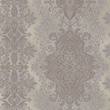 Picture of Benedict Pewter Ornate Paisley Stripe Wallpaper