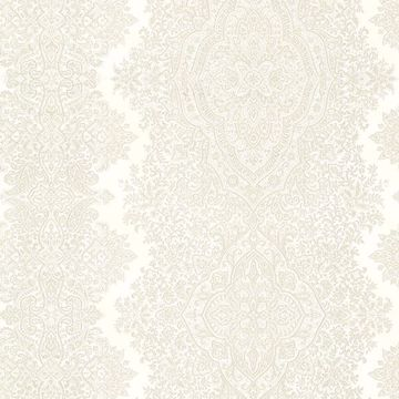 Picture of Benedict Cream Ornate Paisley Stripe Wallpaper