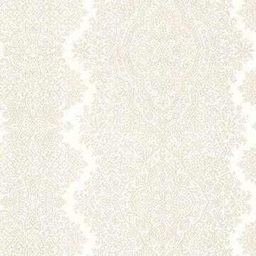 Picture of Benedict Cream Ornate Paisley Stripe Wallpaper