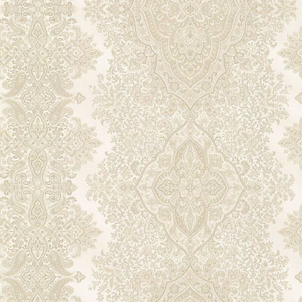 Picture of Benedict Beige Ornate Paisley Stripe Wallpaper