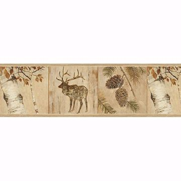 Picture of Tarpon Wheat Birch River Border Wallpaper