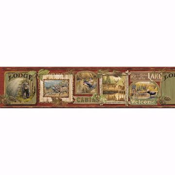 Picture of Poinsett Dark Red Cabin Fever Border