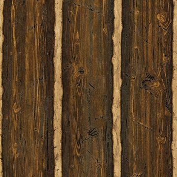 Picture of Log Cabin  Brown Wood Paneling
