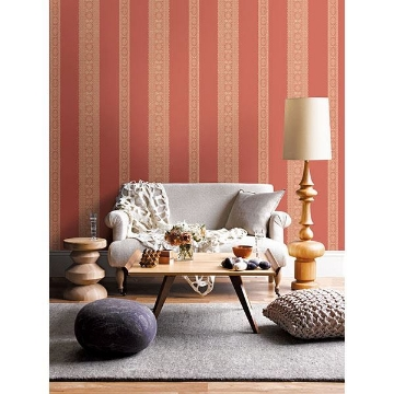 Picture of Brynn Coral Paisley Stripe Wallpaper
