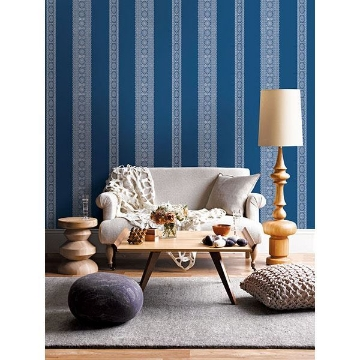 Picture of Brynn Indigo Paisley Stripe Wallpaper