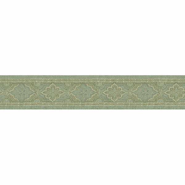 Picture of Alfred Aqua Paisley Border Wallpaper