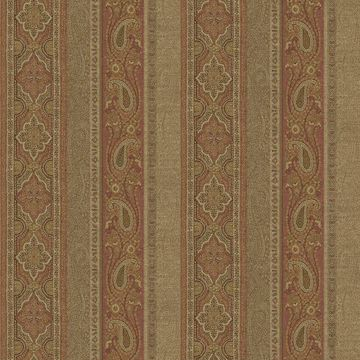 Picture of Emerson Rust Paisley Stripe Wallpaper