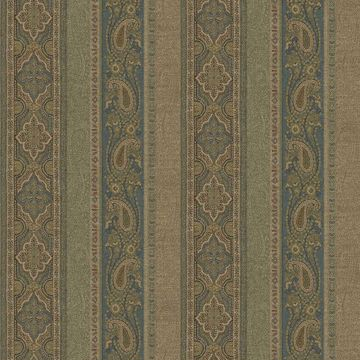 Picture of Emerson Blue Paisley Stripe Wallpaper