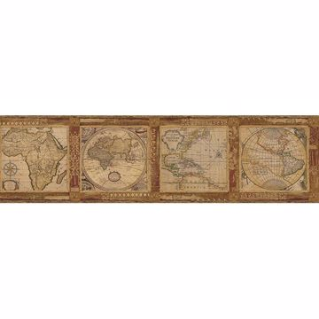 Picture of Oliver Burnt Sienna Map Border