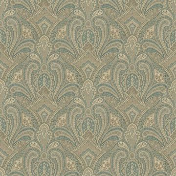 Picture of Barnes Teal Paisley Damask Wallpaper