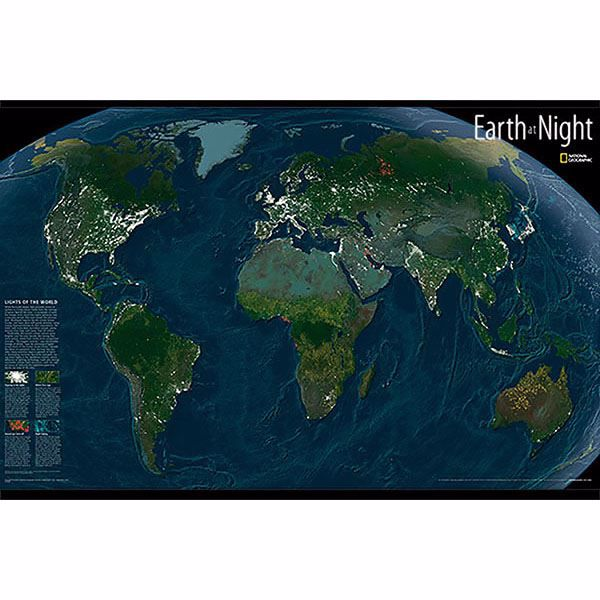 Picture of Earth At Night Glow In The Dark Map
