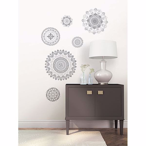 These chic grey and white decals offer a trendy way to decorate.
