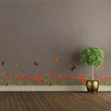 Picture of Poppies & Butterflies Border Decal