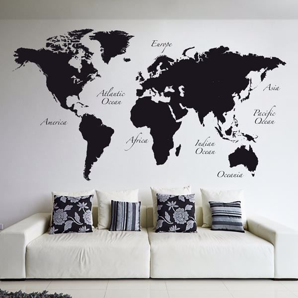Picture of Black World Map Wall Decals