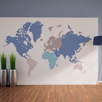 Picture of Blue World Map Wall Decals