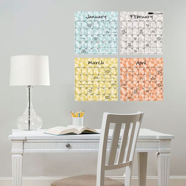 Picture of Pop Art 4 Piece Dry Erase Calendar Decal