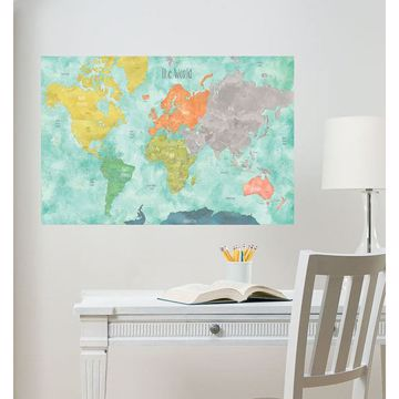 Picture of Aquarelle World Map Wall Decals