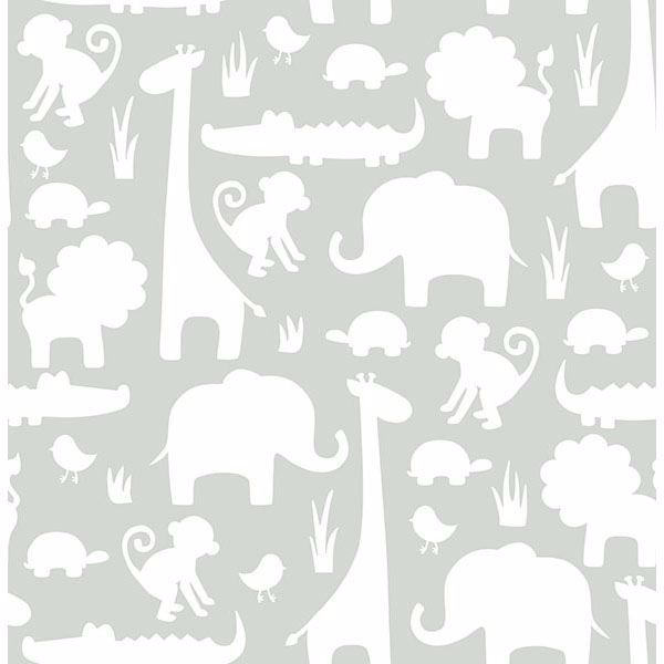 Picture of Gray Its A Jungle In Here Peel And Stick Wallpaper