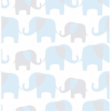 Picture of Blue Elephant Parade Peel And Stick Wallpaper