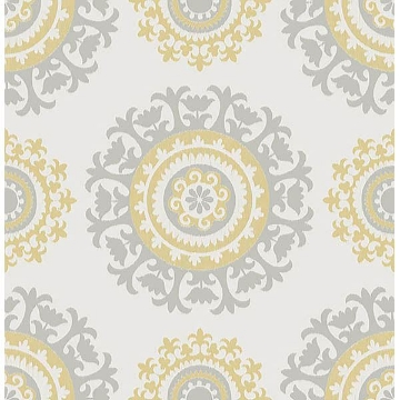 Picture of Grey and Yellow Suzani Peel And Stick Wallpaper