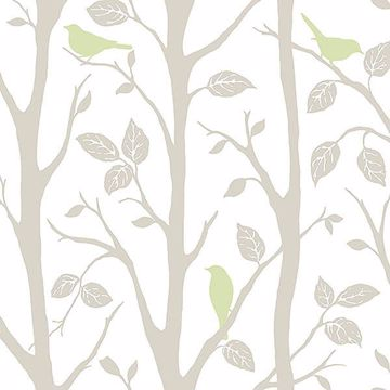 Picture of Grey and Green Sitting In A Tree Peel And Stick Wallpaper
