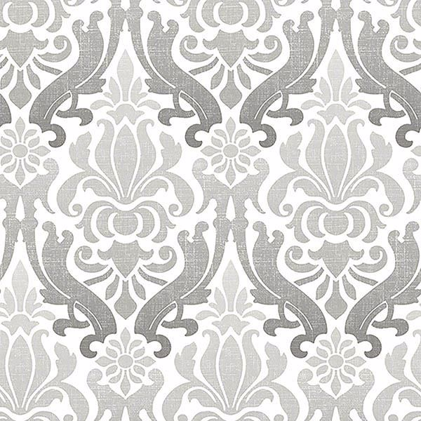 Picture of Grey Nouveau Damask Peel And Stick Wallpaper