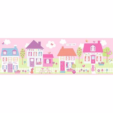 Picture of Happy Street Village Pink Border