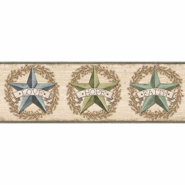 Picture of Faith Barn Star Teal Border