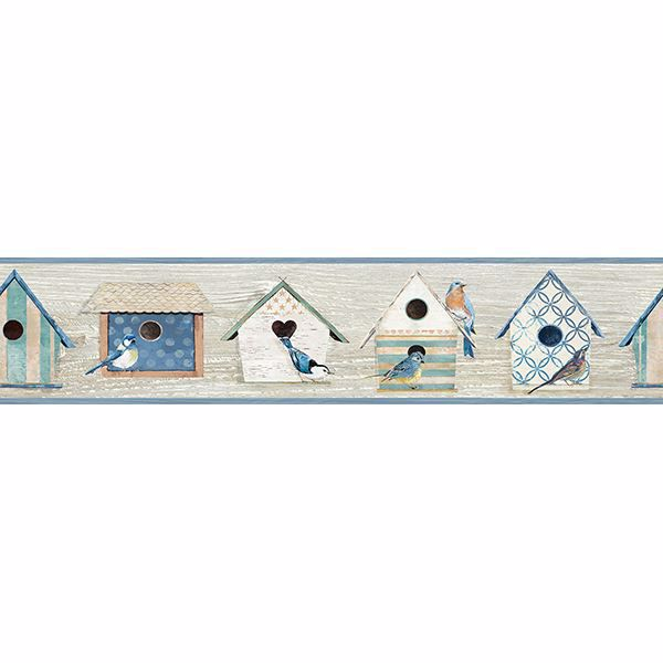 Picture of Cottage Chic Birdhouses Blue Border